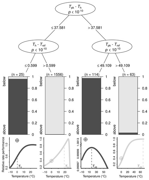 The conditions under which B0 is highly overestimated (i.e., B0 > Ppk; dark grey bars and curves) or less so (i.e., B0 < Ppk; light grey bars and curves), determined using a conditional inference tree algorithm.