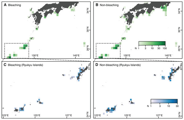 Study area and number of observations in southern Japan.