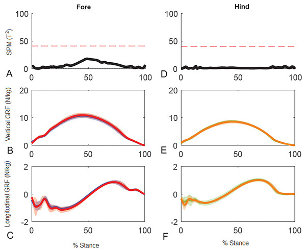 Results of statistical parametric mapping of ground reaction forces of trot overground for a group of 10 horses when categorized by higher and lower forelimb peak vertical GRF (mean of 3 stance phases per horse, per limb).