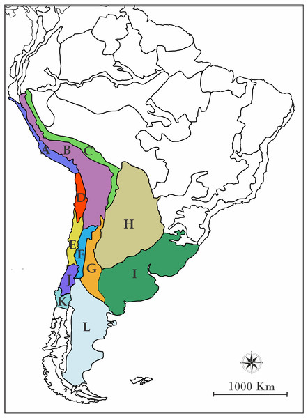 Map of South America showing the biogeographic regions used.
