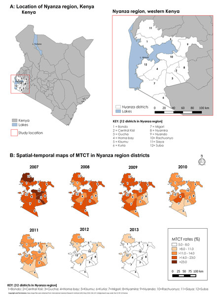 Study location and spatial–temporal trend of fitted MTCT rates in Western Kenya, 2007–2013.