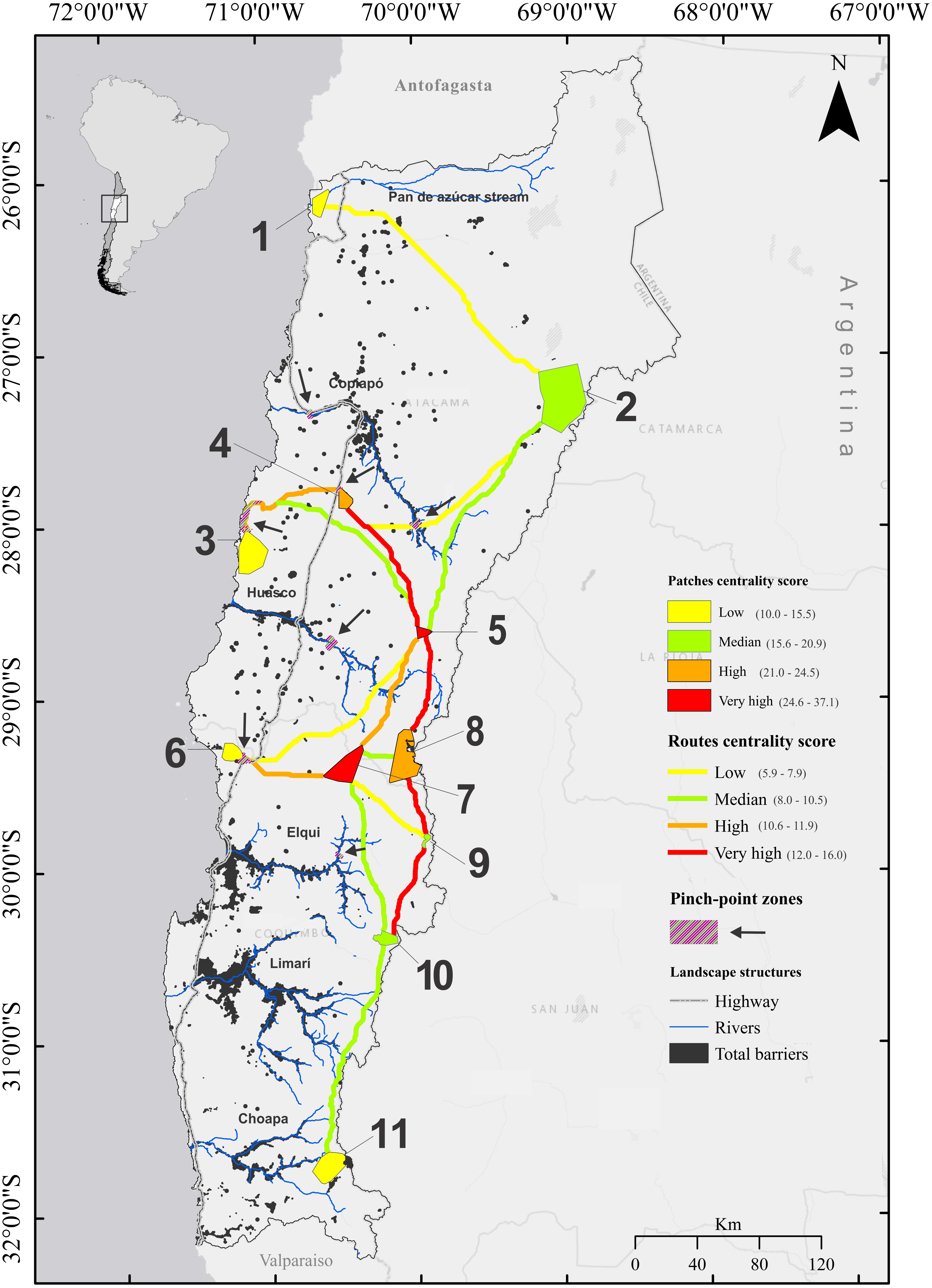 Landscape connectivity among remnant populations of guanaco