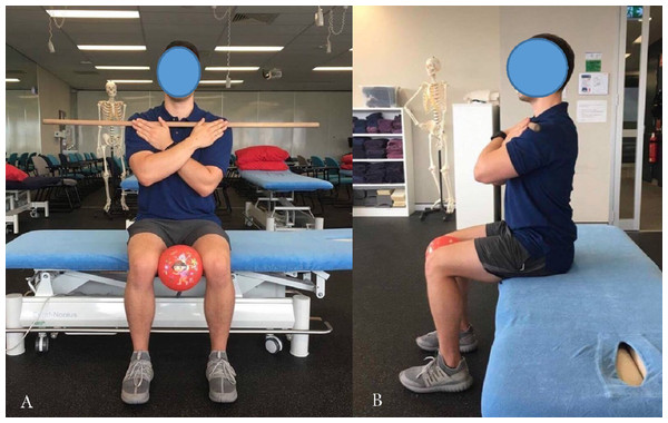 Starting position for seated rotation bar-in-front.