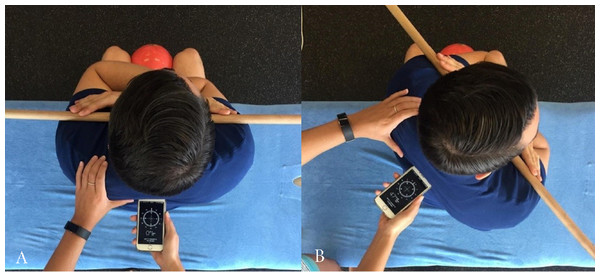Measurement of thoracic rotation with the iPhone Compass App.