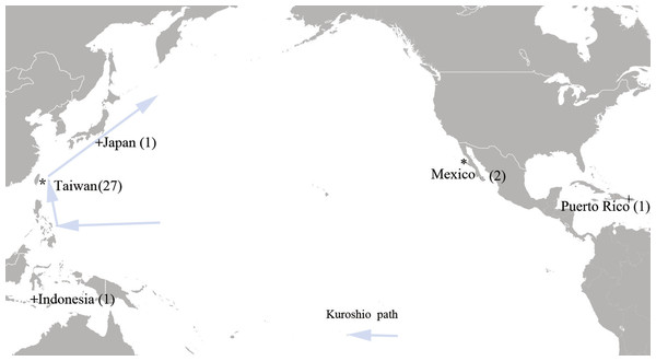 Sampling sites of the megamouth shark (M. plagios).