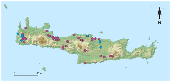 Map of the sampling sites on Crete.