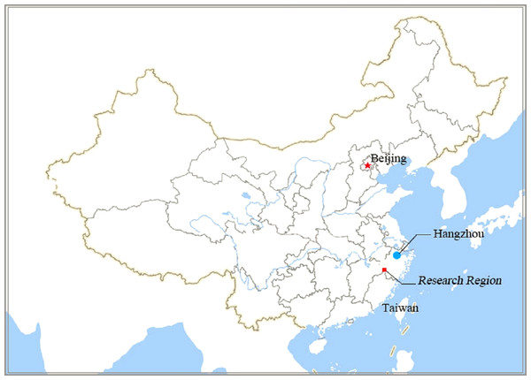 Location of research region on Map of China.