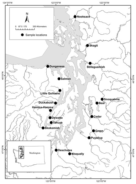 Study area and eDNA collection sites for 18 Puget Sound watersheds (figure modified from Hayes et al. (2013)).
