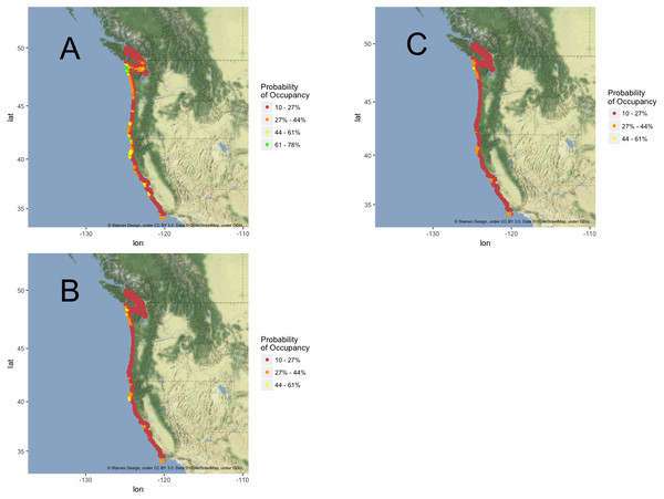 California Current habitat projection maps.