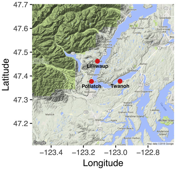 Nearshore sampling locations in Hood Canal, Washington, USA.
