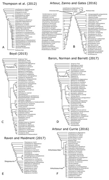 Simplified phylogenies from original datasets used in this study.