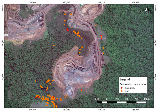 Iron ore mine (N5, Serra Norte, Carajás, Brazil) showing the location of caves colored by their relevance classification.