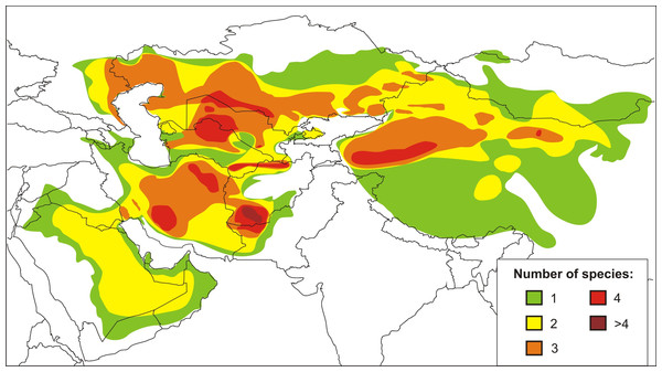Current distribution and species richness of the genus Phrynocephalus.