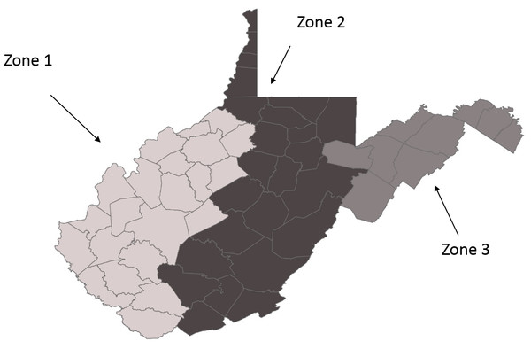 Map of the zones in West Virginia, as designated for this study.