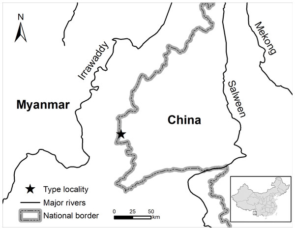 Map showing the type locality of the new species.