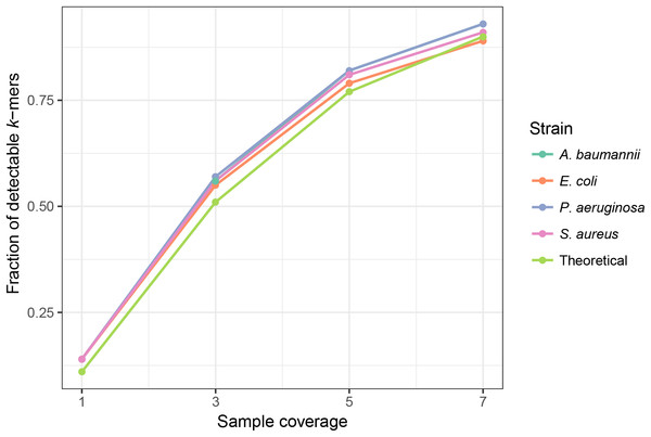 Sample coverage affects the fraction of detectable (frequency >1) chromosomal k-mers in simulated samples.