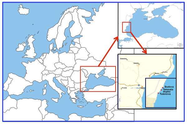 Location of the investigated caves in the North-East Bulgaria (Black Sea).