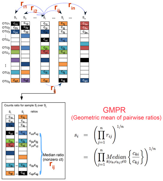 GMPR starts with pairwise comparisons (upper). Each pairwise comparison calculates the median abundance ratio of those common OTUs between the pair of samples (lower).
