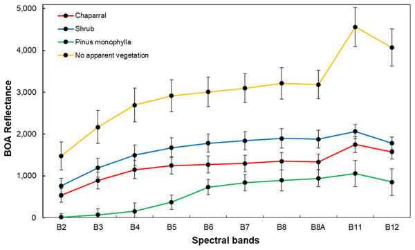Average spectral signatures of cover vegetation in Sierra La Asamblea, Baja California.
