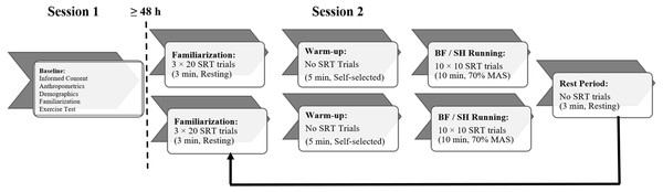 Schematic of experimental protocol for simple reaction time (SRT) testing.