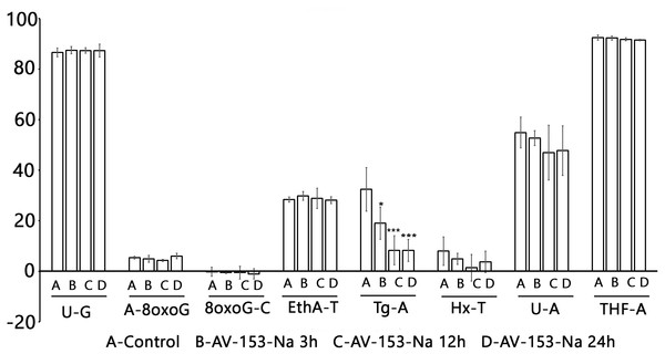 Effect of AV-153-Na on cellular Base Excision Repair activities (Glyco-SPOT assay).
