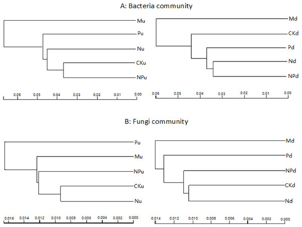 Overall structural changes of bacterial communities (A) and fungi communities (B) from sequencing data as influenced by fertilizations.