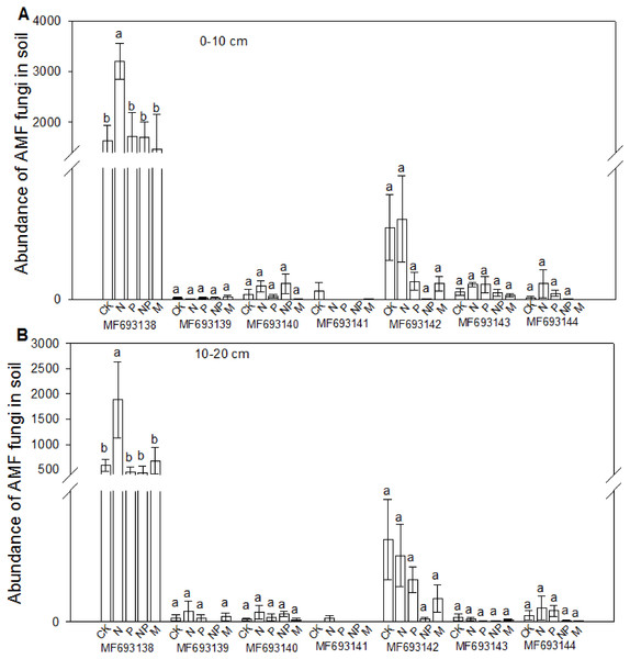 Effects of fertilizations on the abundance of AMF in soils at 0–10 cm (A) and 10–20 cm (B).