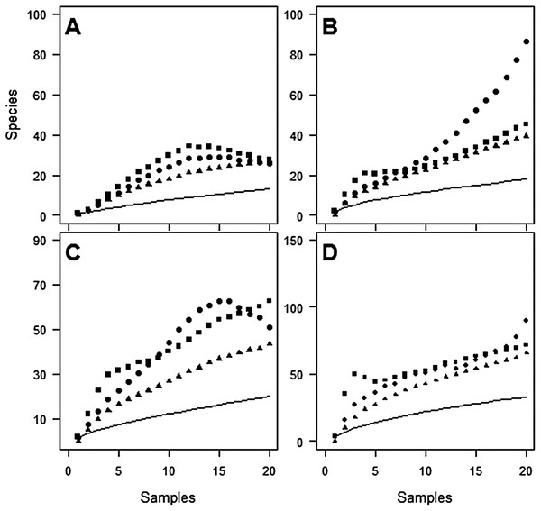 Species accumulation curves at Oratia for each sampling period.