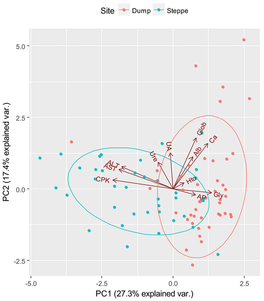 Two first axes of the Principal Component Analysis that ordered individuals by their biochemical parameters.