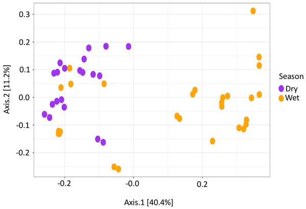 Beta diversity measurements of PEI microbiome.