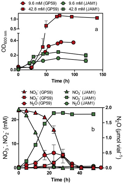 Growth, and NO                                                  ${}_{3}^{-}$                                                                                                                                                     3                                                                                                −                                                                                                          , NO                                                  ${}_{2}^{-}$                                                                                                                                                     2                                                                                                −                                                                                                           and N2O dynamics by Methylophaga nitratireducenticrescens GP59 and JAM1.
