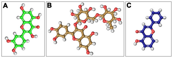 Structural 2D representations of flavonoids in ball and stick.