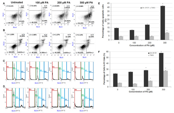 Annexin V-Alexa Fluor® 488/PI flow cytometric analysis of apoptosis and cell cycle in SH-SY5Y and T98G cells after 48 h of PA treatment.