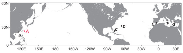 Map showing the regions with reports of tanaidaceans inhabiting submarine caves.