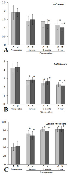 Patients with class I RA in either A (NPD) or B (non-NPD) group were evaluated by HAQ (A), DAS 28 (B), Lysholm knee scores (C).