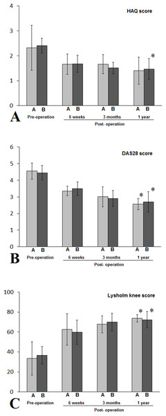 Patients with class III RA in either A (NPD) or B (non-NPD) group were evaluated by HAQ (A), DAS 28 (B), Lysholm knee scores (C).