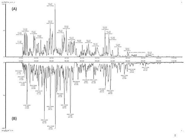 A representative LC-MS/MS base peak chromatogram.