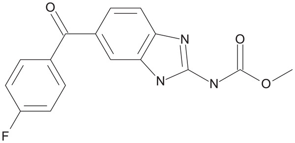 Chemical structure of flubendazole.