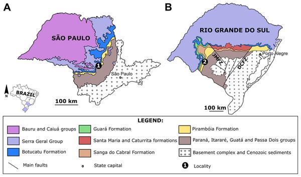 The Pirambóia Formation in São Paulo and Rio Grande do Sul states, Brazil.