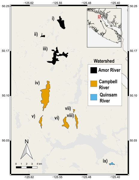 Nine lake populations from Vancouver Island, British Columbia (inset) from which stickleback populations were sampled.
