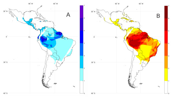 Bioacoustic coldspots and species richness hotspots for the subfamily Lophyohylinae.