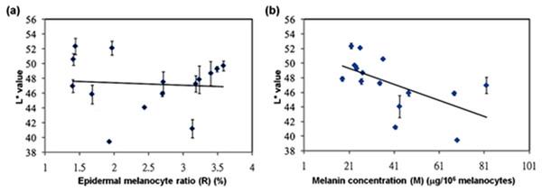 Statistical correlations between skin color-space parameter: L∗ value and epidermal melanocyte ratio or melanin concentration.