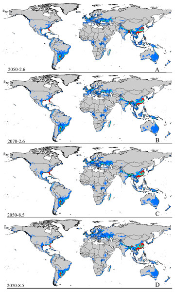 Future species distribution models of CAS on global scale under different climate scenarios predicted by MaxEnt.
