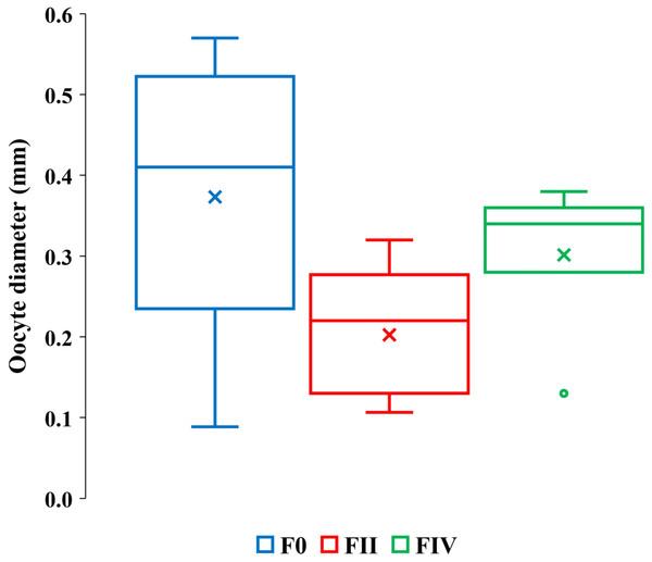 Quartile ranges of vitellogenic oocyte diameters with brood development.