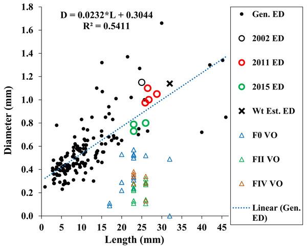 Maximum vitellogenic oocyte and embryo diameters with body length among amphipod populations.