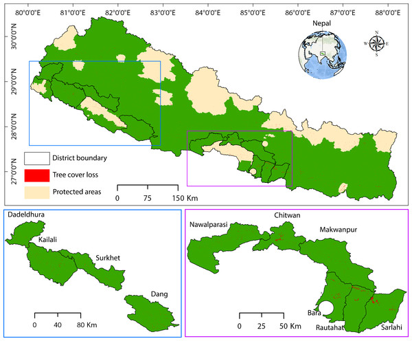 Study area showing the tree cover loss in different districts of Nepal.