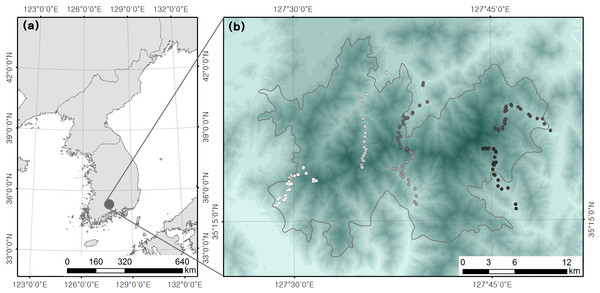 Location of (A) study site and (B) survey plots.