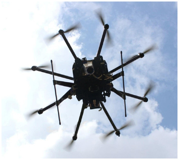 The Dji-S1000+® UAV equipped with the Cubert® mapping system.