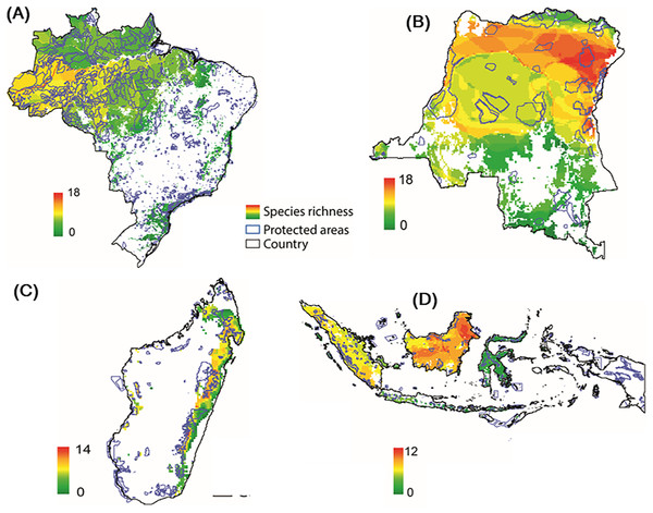 Distribution of protected areas and primate distributions in (A) Brazil, (B) DRC, (C) Madagascar, and (D) Indonesia.