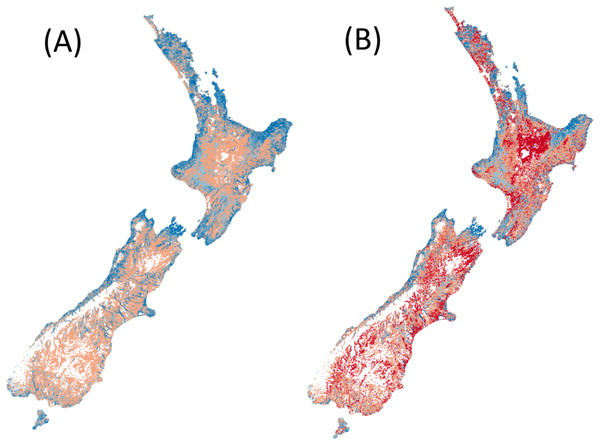 Predicted species richness of fish in both (A) reference conditions and (B) present conditions.
